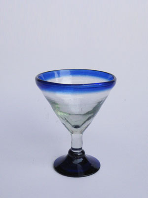 Wholesale MEXICAN GLASSWARE / 'Cobalt Blue Rim' small martini glasses  / Beautiful 'petite' martini glasses with a cobalt blue rim. They're perfect for serving small cocktails or even ice cream and gourmet desserts